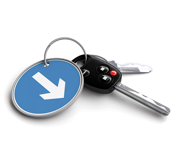 3D de clé de voiture avec porte-clé panneau de signalisation