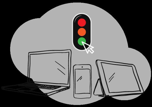 Illustration d'un ordinateur portable, d'un mobile et d'une tablette avec un curseur cliquant sur un feu vert