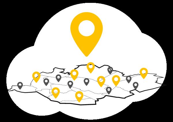 Illustration de la carte du Val d'Oise avec des marqueurs de localisation
