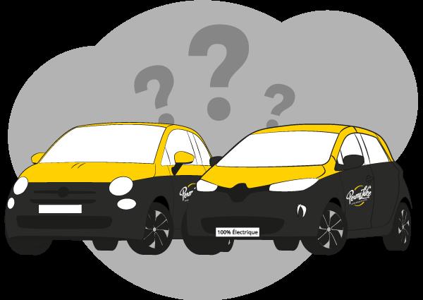 Illustration des voitures Permilike : Fiat 500 et Renault Zoé
