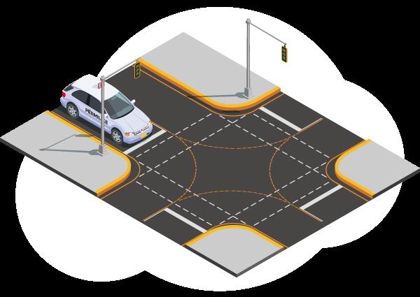 Permis de conduire - Illustration d'une voiture arrivant à un carrefour