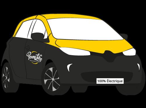 Illustration de la Renault Zoé 100% électrique aux couleurs de Permilike