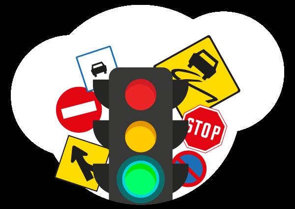 Permis de conduire, Permis à points - Panneaux de signalisation et feu vert