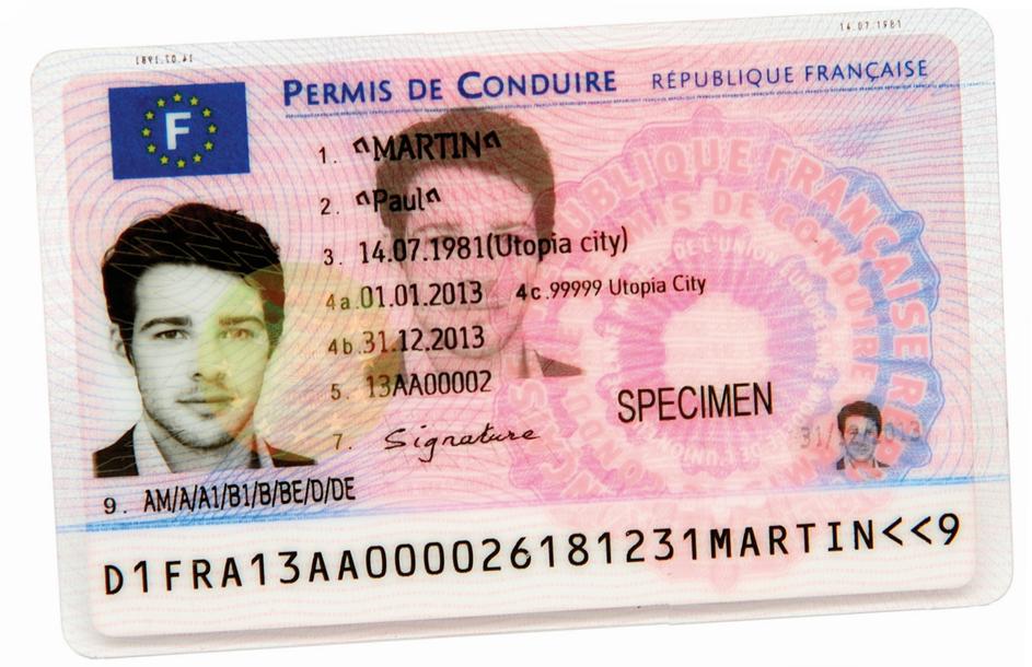 Spécimen permis de conduire nouveau format carte