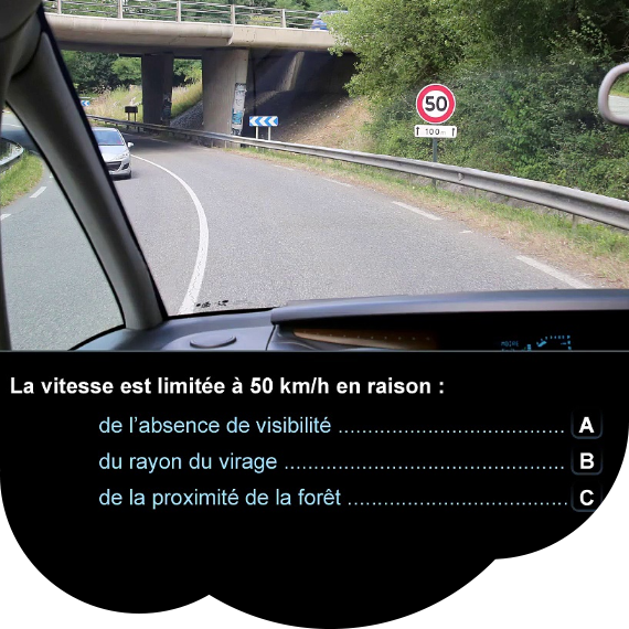 Code de la route - Question de code réponses A, B, C