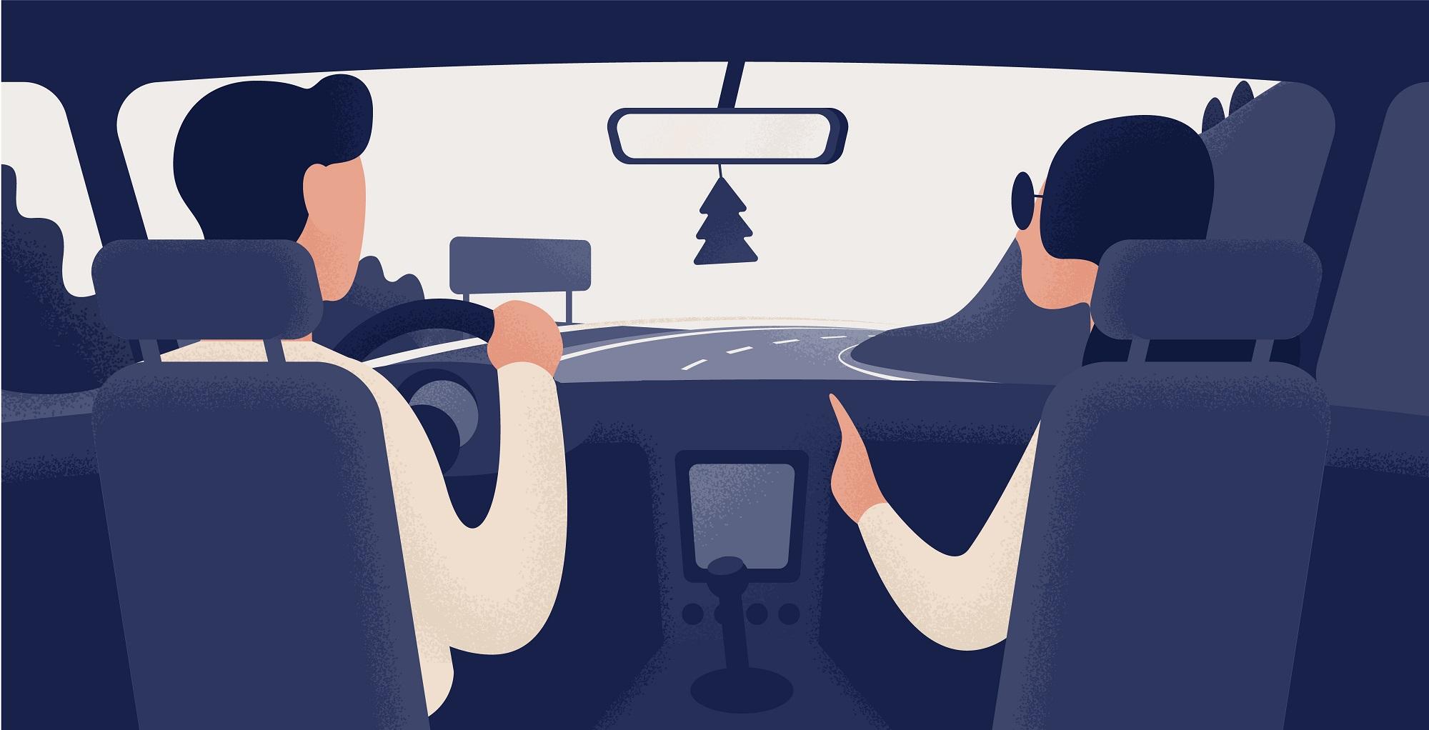 Illustration de 2 personnes dans une voiture vue des places arrières