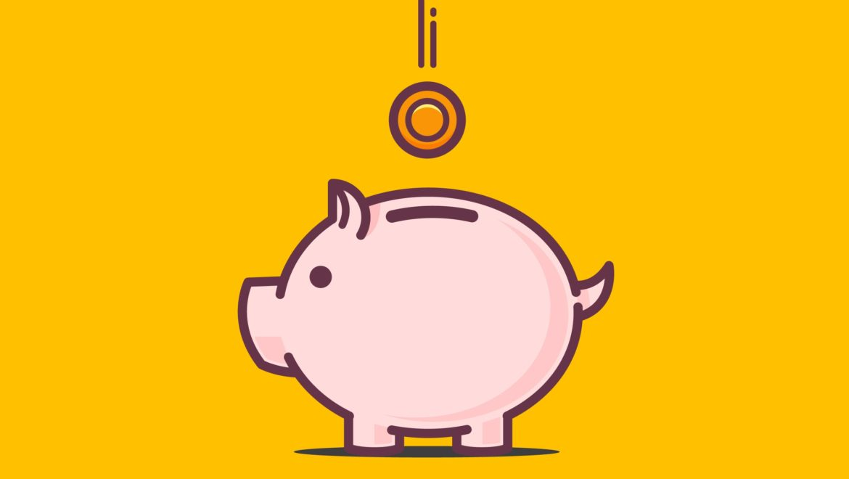 Une tirelire en forme de cochon et une pièce qui symbolisent l'aide au permis de conduire
